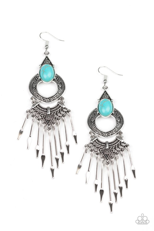 Paparazzi Earring ~ Southern Spearhead - Blue