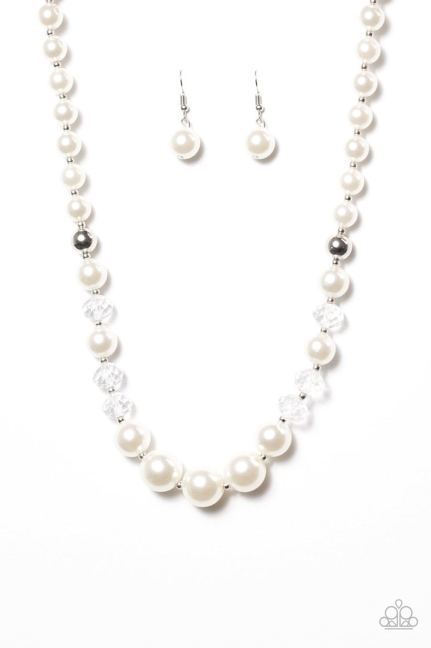Paparazzi Necklace ~ GLAM Straight! - White