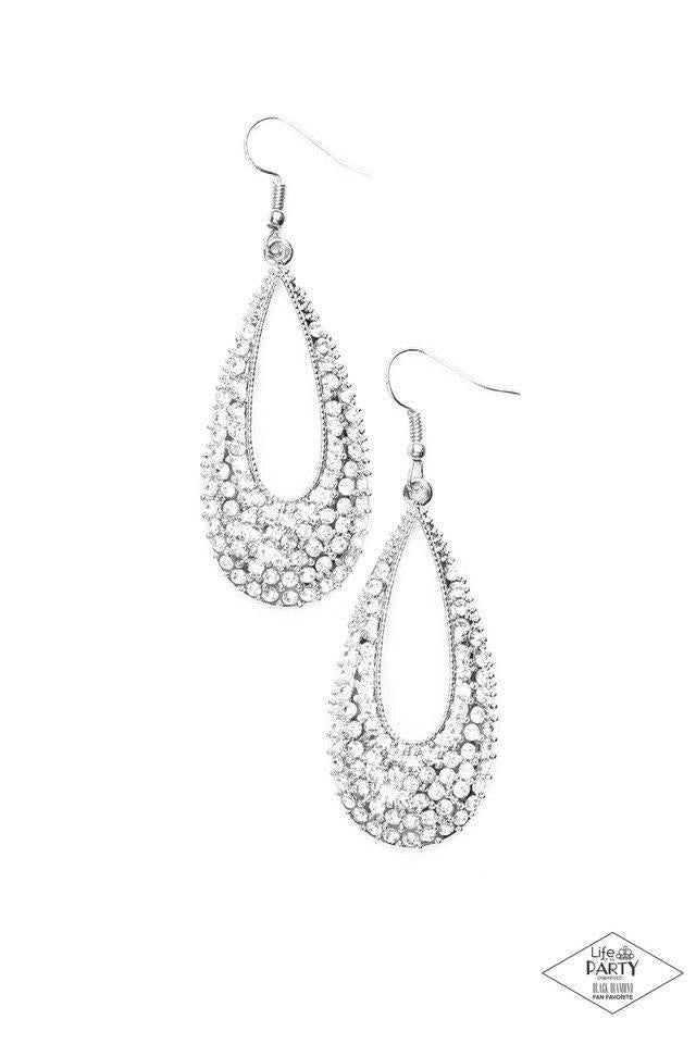 Paparazzi Earring ~ Big-Time Spender - White