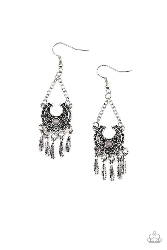 Paparazzi Earring ~ Fabulously Feathered - Silver