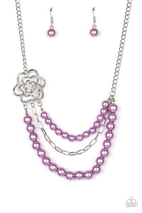 Paparazzi Necklace ~ Fabulously Floral - Purple