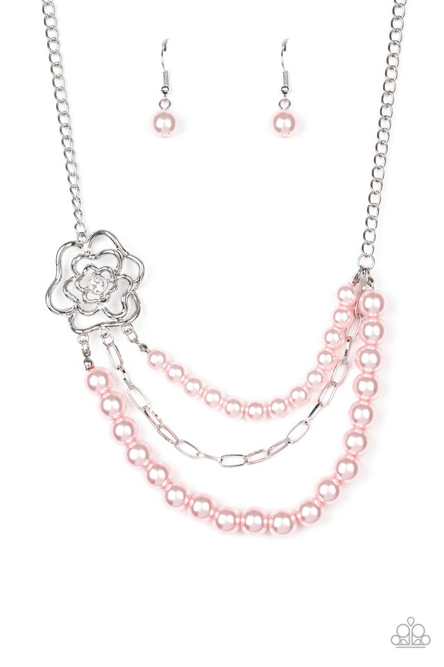 Paparazzi Necklace ~ Fabulously Floral - Pink