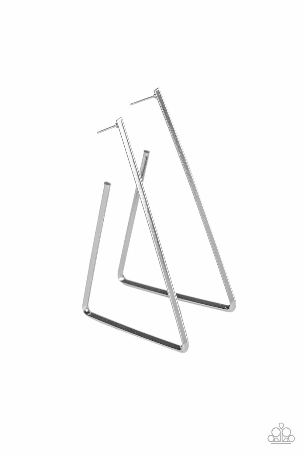 Paparazzi Earring ~ Go Ahead and TRI - Silver