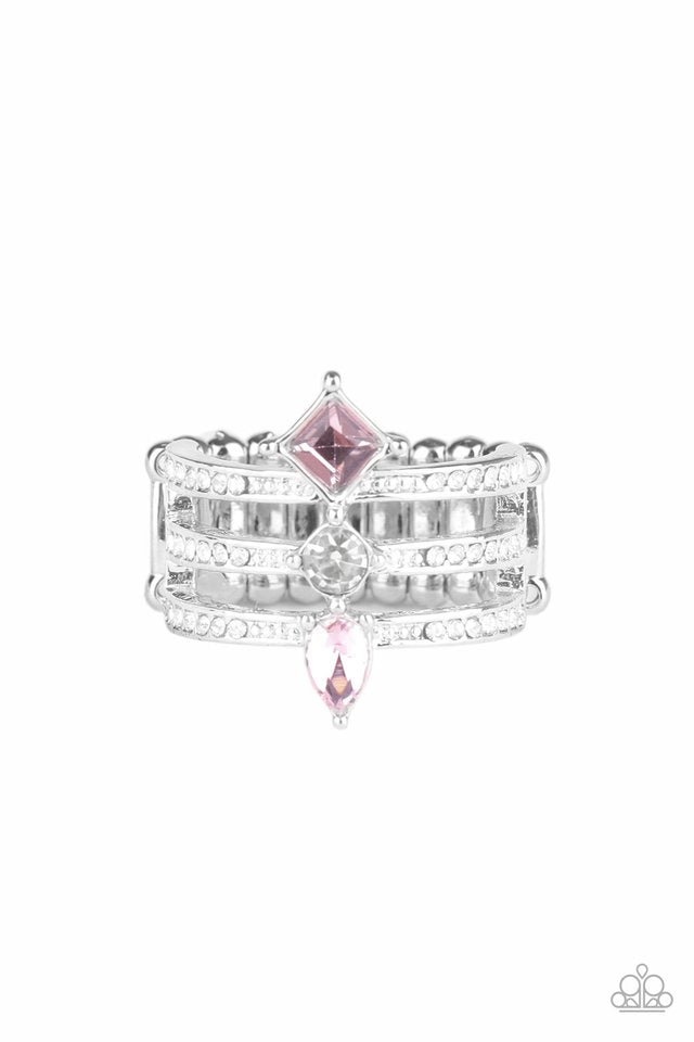 Paparazzi Ring ~ Triple Throne Twinkle - Pink