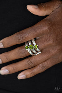 Triple The Twinkle - Green - Paparazzi Ring Image