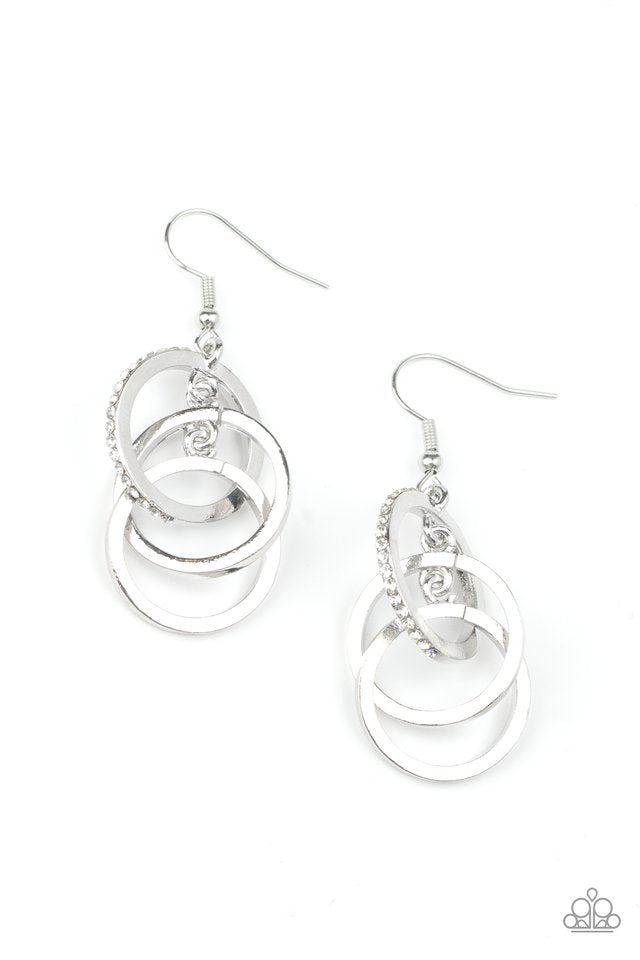 Paparazzi Earring ~ Fiercely Fashionable - White