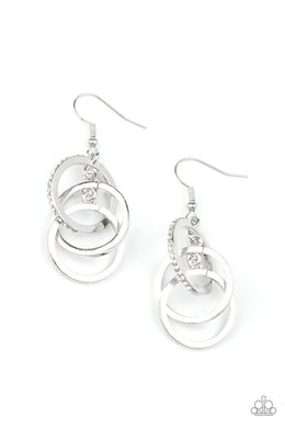 Fiercely Fashionable - White - Paparazzi Earring Image