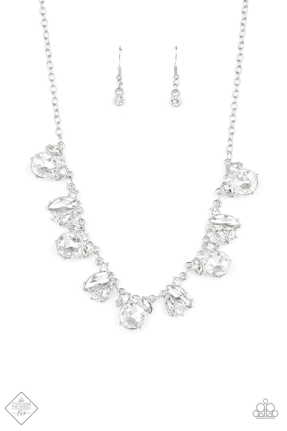 Paparazzi Necklace ~ BLING to Attention - White - Fashion Fix Sept 2020