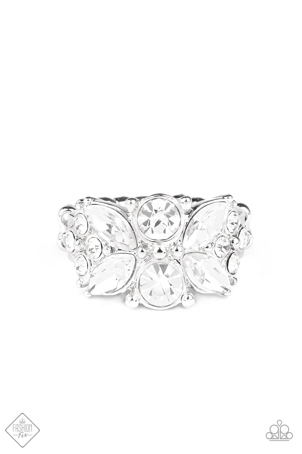 Paparazzi Ring ~ Sparkly State of Mind - White - Fashion Fix Sept 2020