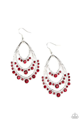 Break Out In TIERS - Red - Paparazzi Earrings Image