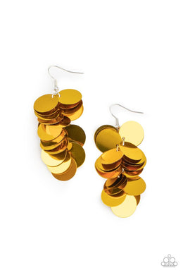 Now You SEQUIN It - Gold - Paparazzi Earring Image