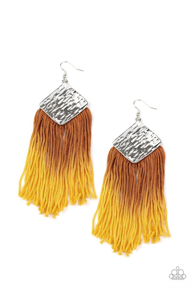 Paparazzi Earring ~ DIP The Scales - Yellow