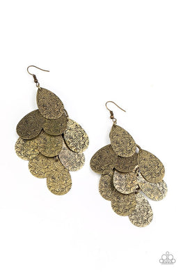 Hibiscus Harmony - Brass - Paparazzi Earrings Image