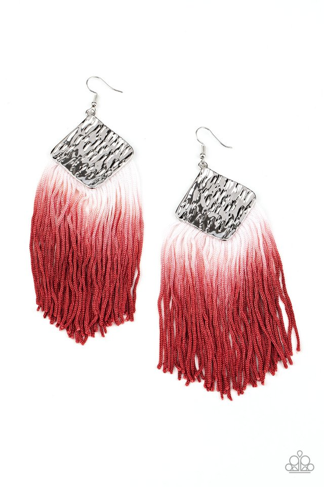 Paparazzi Earring ~ DIP The Scales - Red