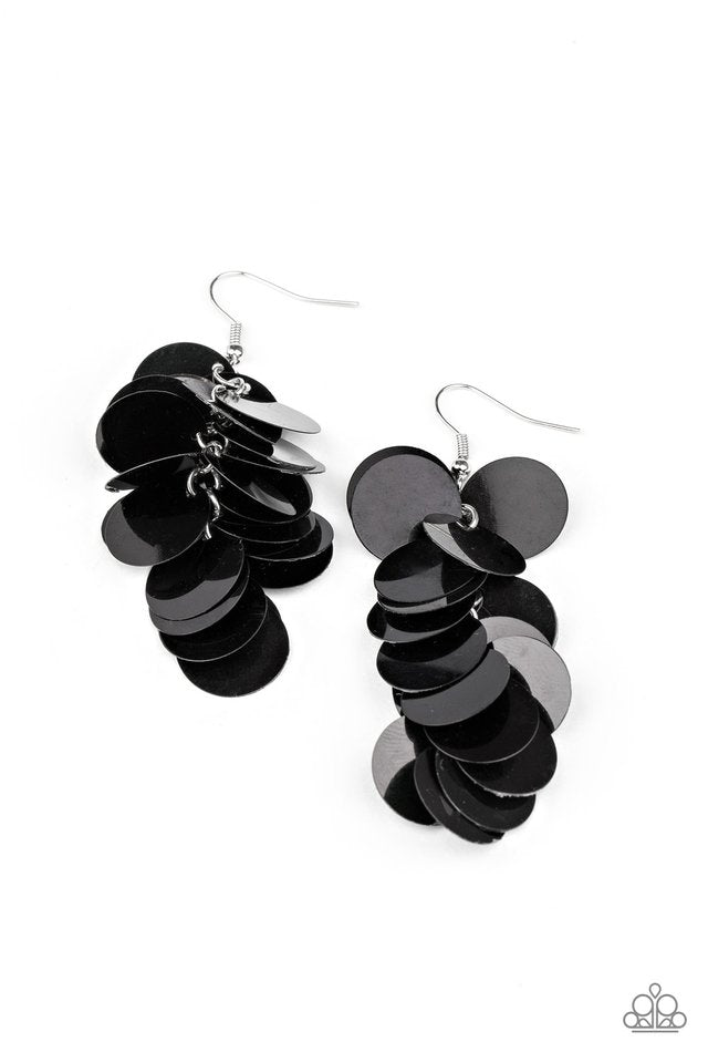 Paparazzi Earring ~ Now You SEQUIN It - Black
