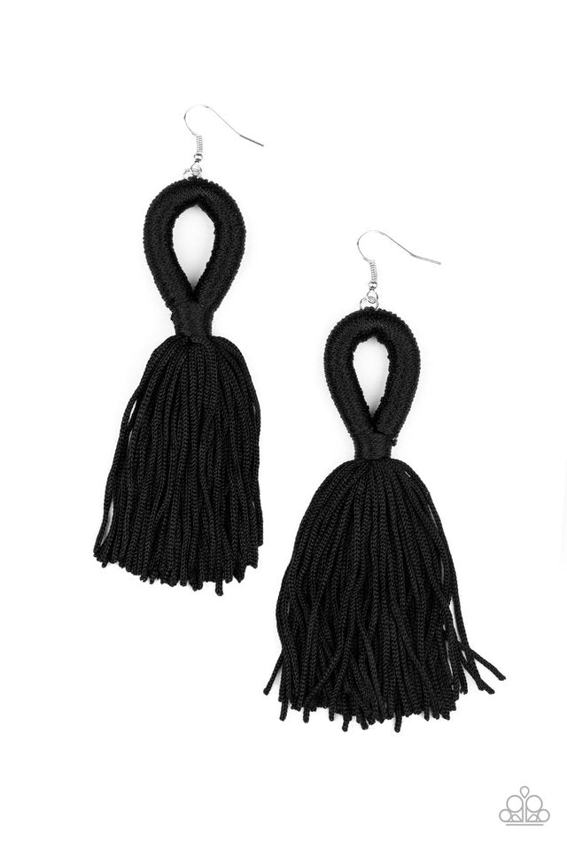 Paparazzi Earring ~ Tassels and Tiaras - Black