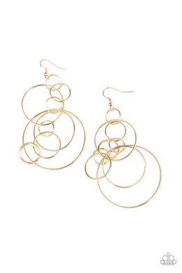 Running Circles Around You - Gold - Paparazzi Earring Image