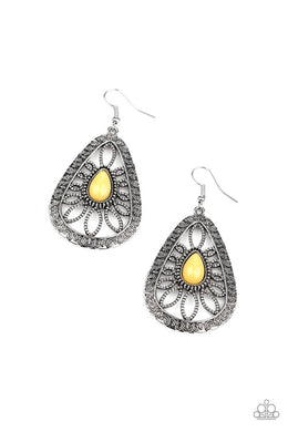 Floral Frill - Yellow - Paparazzi Earring Image