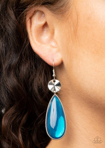 Jaw-Dropping Drama - Blue - Paparazzi Earring Image