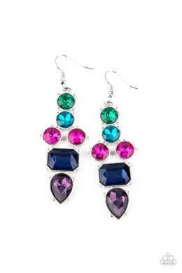 Look At Me GLOW! - Blue - Paparazzi Earring Image