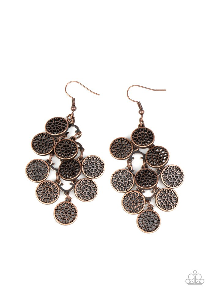 Paparazzi Earring ~ Blushing Blooms - Copper