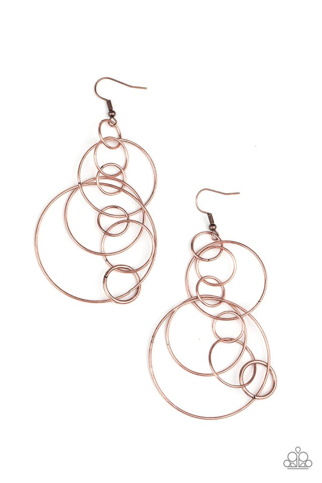 Paparazzi Earring ~ Running Circles Around You - Copper