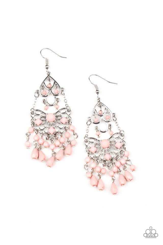 Paparazzi Earring ~ Glass Slipper Glamour - Pink