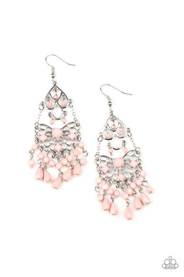 Glass Slipper Glamour - Pink - Paparazzi Earring Image