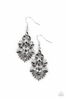 Ice Castle Couture - Silver - Paparazzi Earring Image