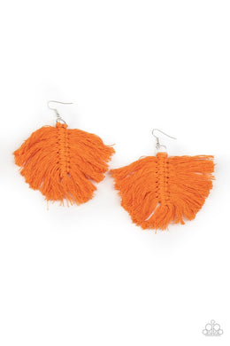 Macrame Mamba - Orange - Paparazzi Earring Image