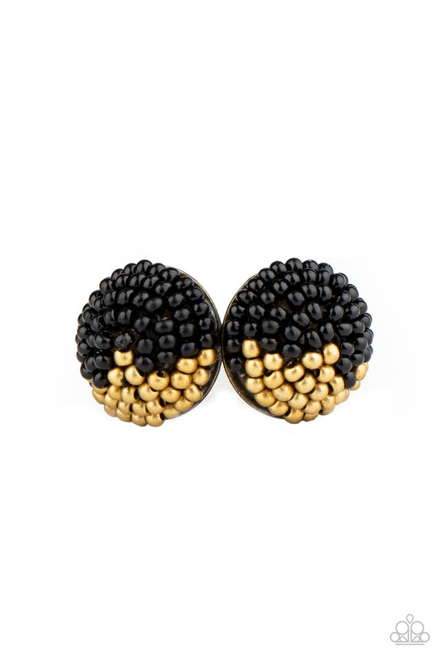 Paparazzi Earring ~ As Happy As Can BEAD - Black