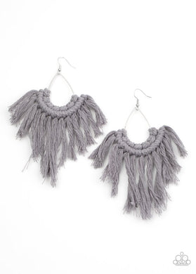 Wanna Piece Of MACRAME? - Silver - Paparazzi Earring Image