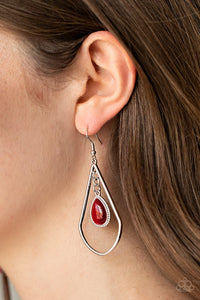Ethereal Elegance - Red - Paparazzi Earring Image