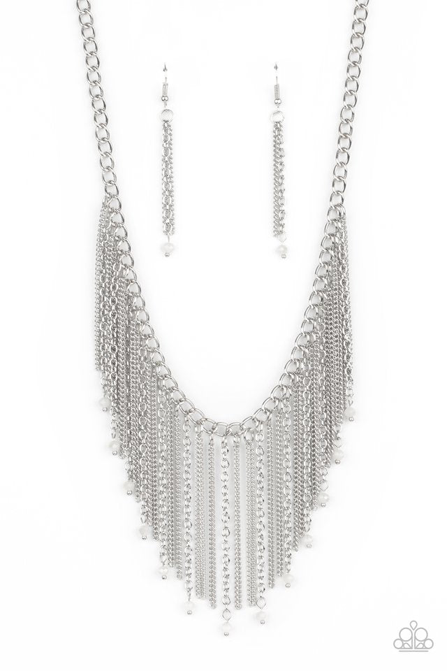 Cue The Fireworks - White - Paparazzi Necklace Image