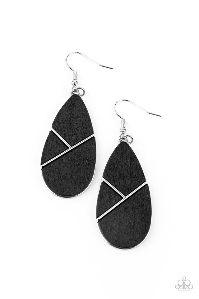 Paparazzi Earring ~ Sequoia Forest - Black
