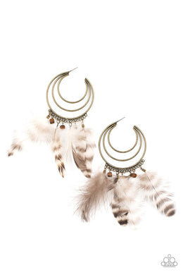 Freely Free Bird - Brass - Paparazzi Earring Image