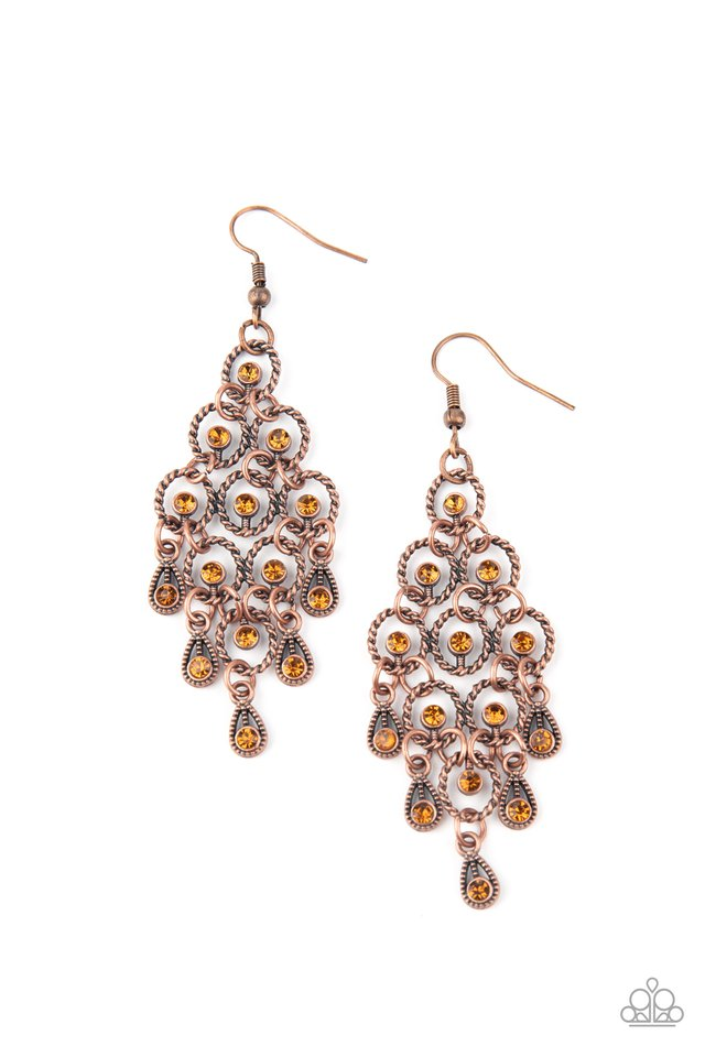 Paparazzi Earring ~ Chandelier Cameo - Copper