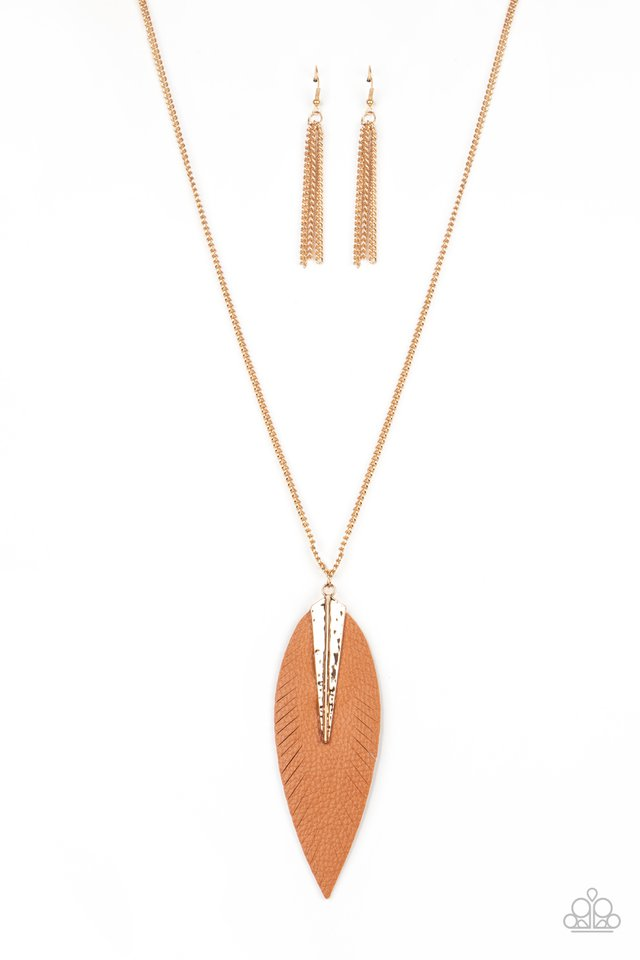 Paparazzi Necklace ~ Quill Quest - Gold