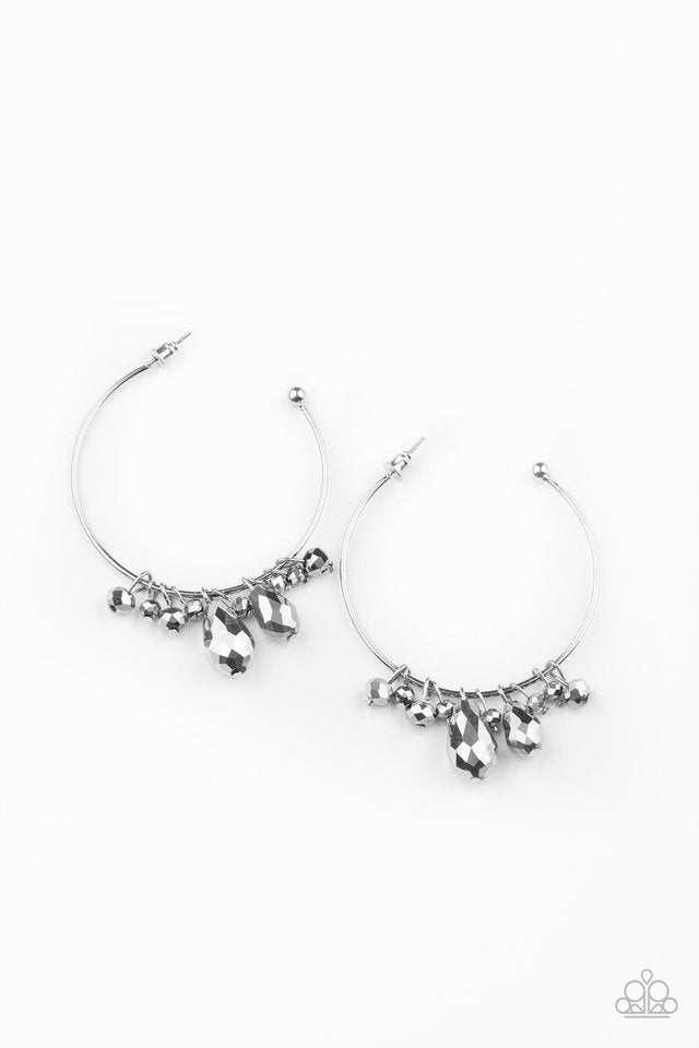 Paparazzi Earring ~ Dazzling Downpour - Silver