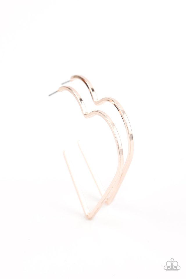 Paparazzi Earring ~ I HEART a Rumor - Rose Gold