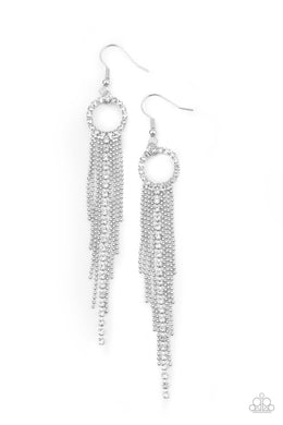 Pass The Glitter - White - Paparazzi Earring Image