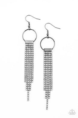 Tapered Twinkle - Black - Paparazzi Earring Image