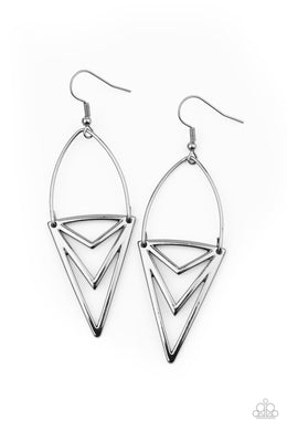 Proceed With Caution - Black - Paparazzi Earring Image