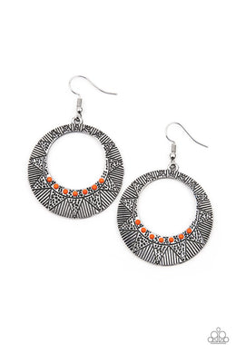 Adobe Dusk - Orange - Paparazzi Earring Image