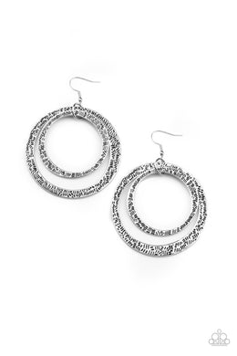 Rounded Out - Silver - Paparazzi Earring Image
