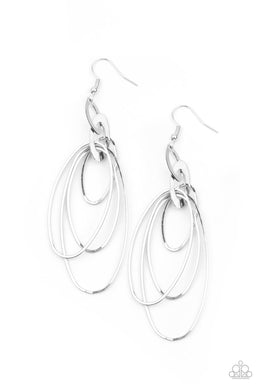 OVAL The Moon - Silver - Paparazzi Earring Image