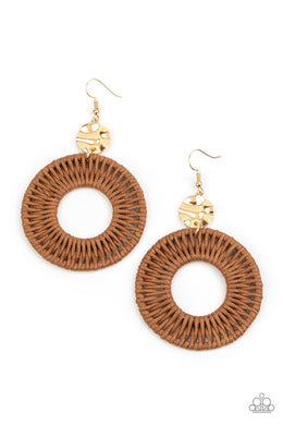 Total Basket Case - Brown - Paparazzi Earring Image