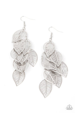 ​Limitlessly Leafy - Silver - Paparazzi Earring Image