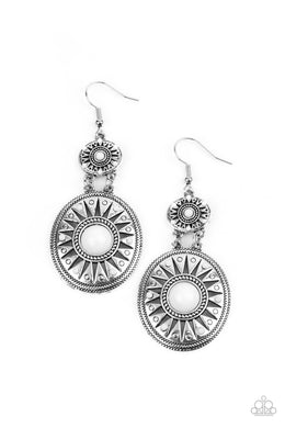 ​Temple of The Sun - White - Paparazzi Earring Image