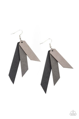 Suede Shade - Silver - Paparazzi Earring Image